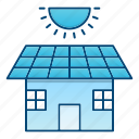 eco, ecology, go green, house, panel, solar icon