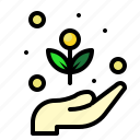ecology, growth, hand, plant icon
