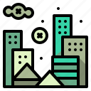 buildings, cityscape, ecology, pollution icon