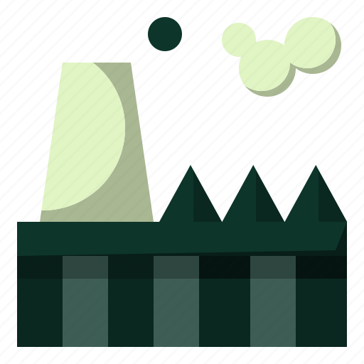 buildings, fectory, industry, plant, pollution, power icon