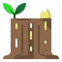 botanical, nature, stump, tree icon