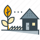 ecology, farm, grown, home, house, leaf, tree icon