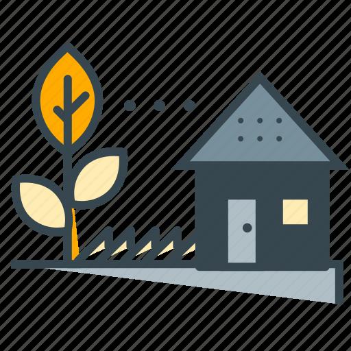 ecology, farm, grown, home, house, leaf, tree icon