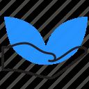 eco, hand, leaf, plant icon
