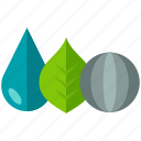 ecology, elements, globe, leaf, nature, water icon