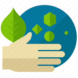 ecology, environment, green, hand, leaf, nature icon