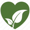 bio, eco, heart, love, nature, plant icon