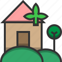 eco, ecology, environment, home, house, leaf, tree icon
