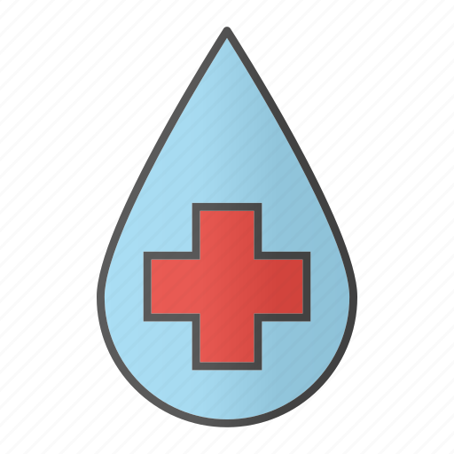 blood, cross, drop, liquid, medical cross, water icon