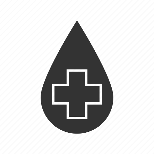 blood, cross, drop, liquid, medical cross, water icon