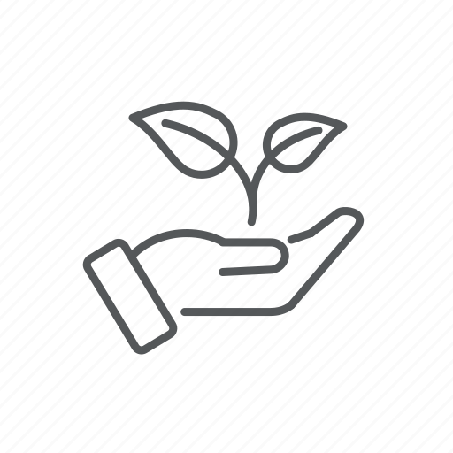 ecology, hand, leaves icon