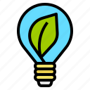 bulb, eco, electricity, leaf, light icon