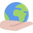 earth, eco, ecology, hand, nature, save icon