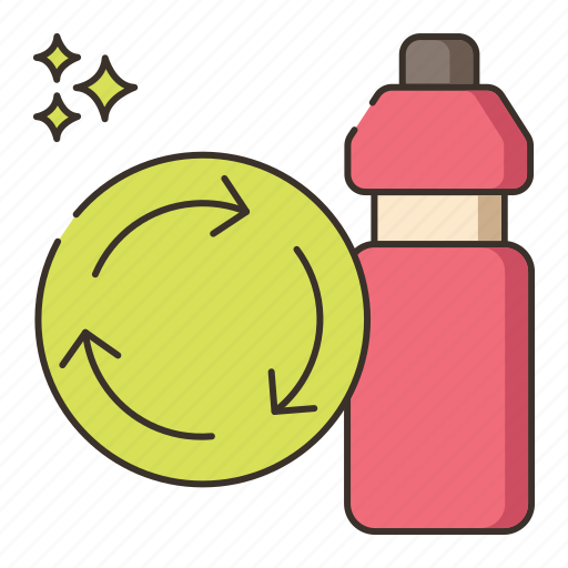biodegradable, water bottle icon