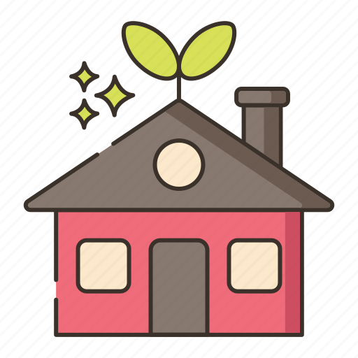 green, house, nature icon