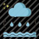 cloud, ocean, rain, sea, water, water cycle icon