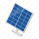 isometric, power, sun, energy, solar, technology, panel
