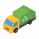 business, garbage, green, isometric, transportation, truck, vehicle icon