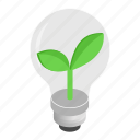 bulb, concept, eco, idea, isometric, leaf, lightbulb icon
