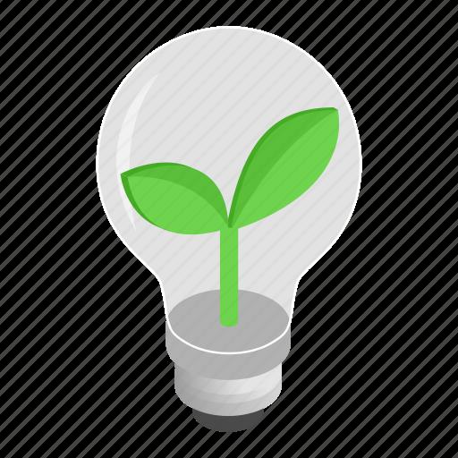 bulb, concept, eco, idea, isometric, leaf, lightbulb icon