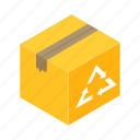 box, cardboard, carton, deliver, eco, isometric, shipping icon