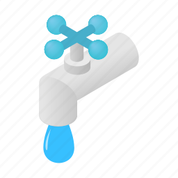 bathroom, faucet, isometric, plumbing, save, take, trickle icon