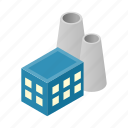 isometric, nuclear, plant, pollution, power, station, vector fuel icon