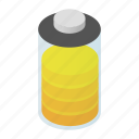 art, battery, energy, full, isometric, load, power icon