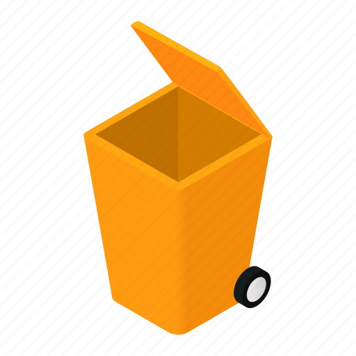 bin, can, dustbin, isometric, modern, trash, trashcan icon