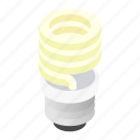 bulb, energy, fluorescent, isometric, light, lightbulb, save icon
