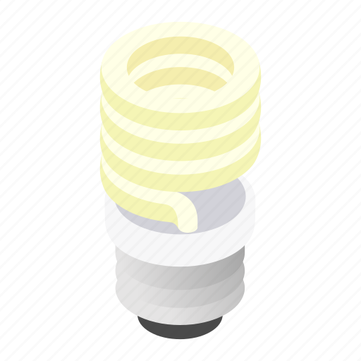 Lightbulb, isometric, light, energy, fluorescent, bulb, save icon
