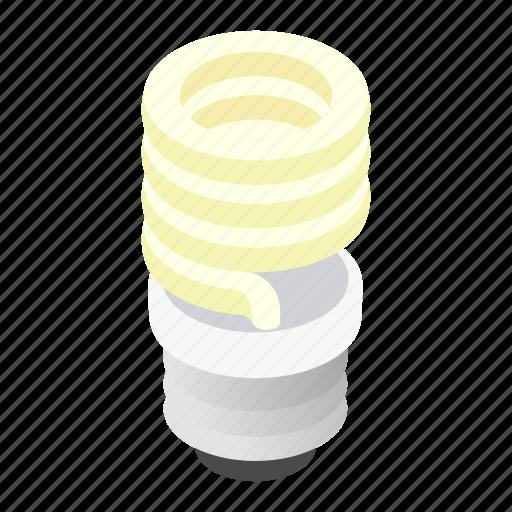 bulb, energy, fluorescent, isometric, light, lightbulb, save icon