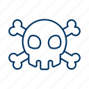 bone, cross, environment, hazardous, skull, toxic, warning icon