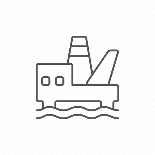 energy, fossil, offshore, oil, platform, pollution, resource icon