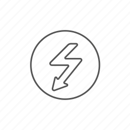 arrow, downward, electric, lightning, voltage, zigzag icon