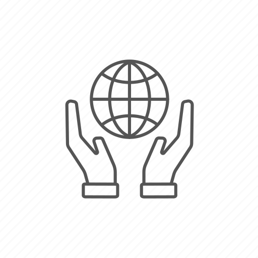 environment, globe, hands, holding, peace, universe, world icon