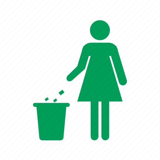 eco, ecology, garbage, nature, people, recycle, trash, woman icon