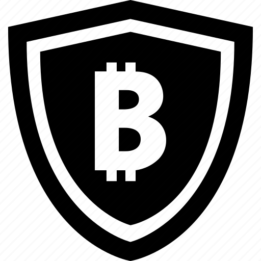 bitcoin, mobile, online, payment, secure, shield icon