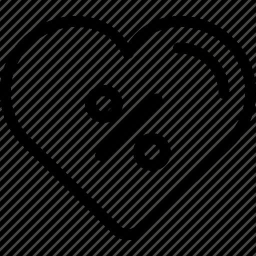 heart, love, percent icon