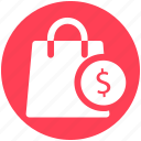 bag, dollar, dollar sign, hand bag, shopping, shopping bag
