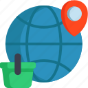 earth, maps, online, shop icon