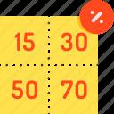 coupons, meal ticket, scrip, slip, ticket, token, voucher icon