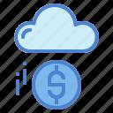 cloud, coin, computing, dollar, marketing, money, technology icon
