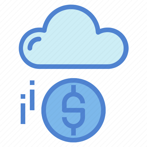 cloud, coin, computing, dollar, marketing, money, technology icon