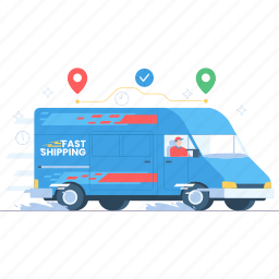 ecommerce, set, shop, sale, business, delivery, shipping, van