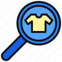 commerce, ecommerce, find, magnifier, search, shirt, zoom icon