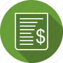 bill, document, finance, paper, payment, receipt, report icon
