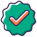 accept, approval, approve, badge, checkmark, success, verify icon