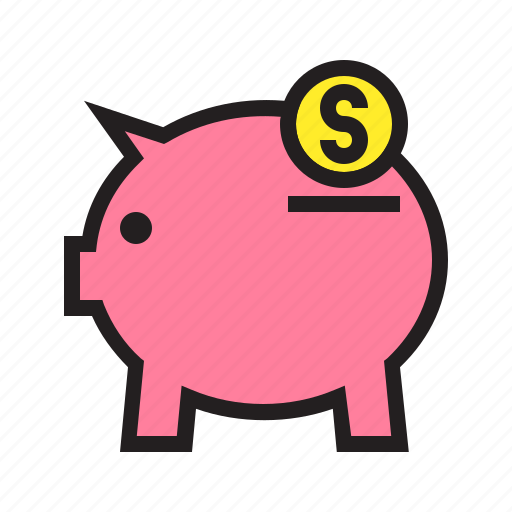 back, cash, ecommerce, filled, money, payment, pig icon