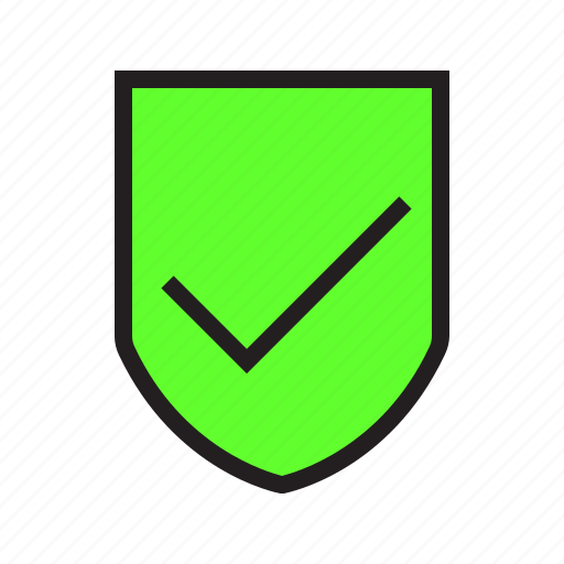 check, ecommerce, filled, product, protected, secure, shield icon